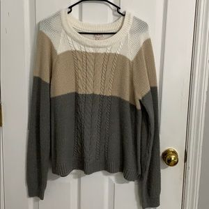 Neutral Color Block Knit Sweater